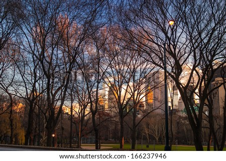 New York City view from Central Park - stock photo