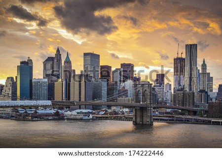 New York City with dramatic cloud cover. - stock photo