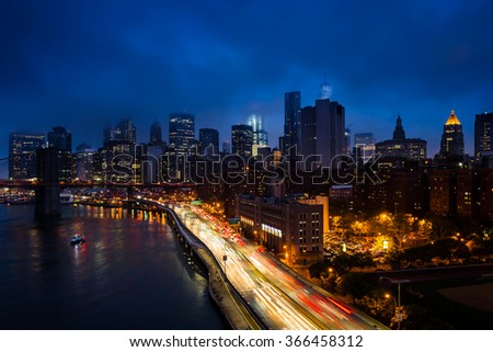 New York City with traffic - stock photo