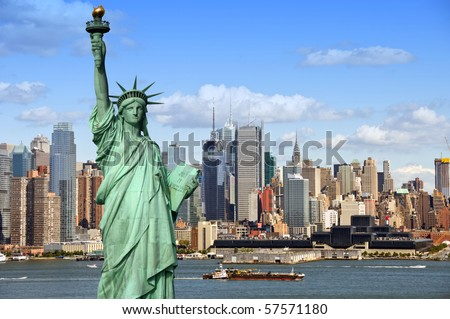 new york cityscape, tourism concept photograph state of liberty - stock photo