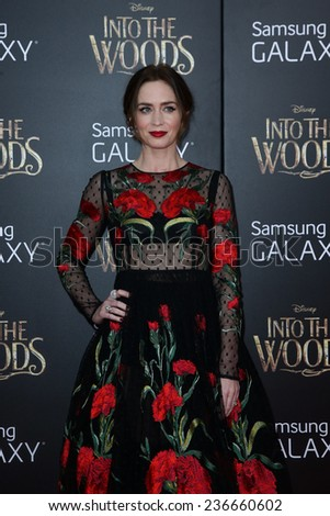 """NEW YORK-DEC 8: Actress Emily Blunt attends the """"Into The Woods"""" premiere at the Ziegfeld Theatre on December 8, 2014 in New York City. - stock photo"""