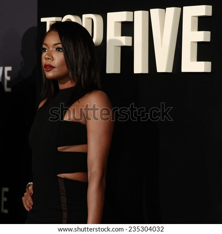 "NEW YORK-DEC 3: Actress Gabrielle Union attends the ""Top Five"" premiere at the Ziegfeld Theatre on December 3, 2014 in New York City. - stock photo"