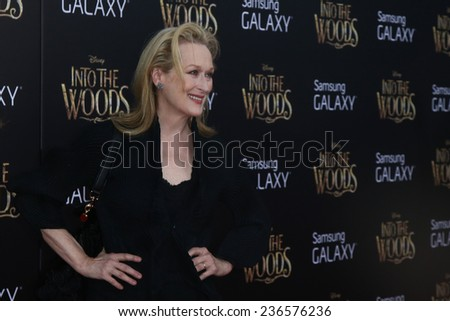"NEW YORK-DEC 8: Actress Meryl Streep attends the ""Into The Woods"" premiere at the Ziegfeld Theatre on December 8, 2014 in New York City. - stock photo"