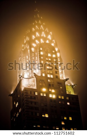 NEW YORK - DEC 27: Chrysler building facade closeup, was the world's tallest building (319 m) before it was surpassed by the Empire State Building in 1931, on December 27, 2011 in Manhattan, New York - stock photo
