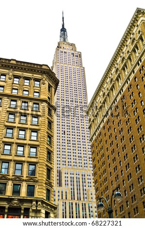 NEW YORK - DEC 25 : Empire state building facade on December 25, 2010. It stood as the world's tallest building for more than 40 years (from 1931 to 1972). - stock photo
