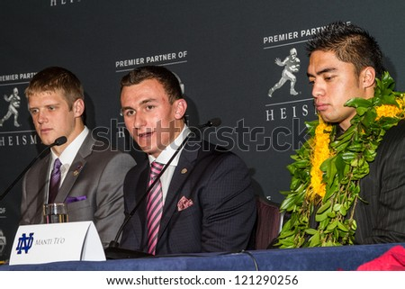 NEW YORK - DEC 8:  Heisman Trophy finalists Colin Klein (L) and Johnny Manziel (C) and Manti Te'o (R) address the press at the 2012 Heisman Trophy press conference at Marriott Marquis in New York City on December 8, 2012. - stock photo