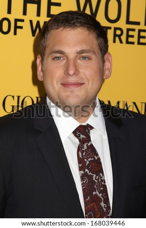 "NEW YORK - DEC 17: Jonah Hill attends the premiere of ""The Wolf Of Wall Street"" at the Ziegfeld Theater on December 17, 2013 in New York City. - stock photo"