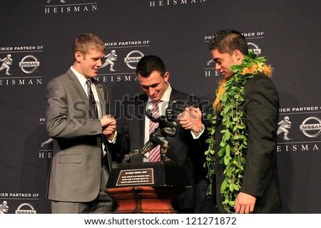 NEW YORK-DEC 8: (L to R) Collin Klein, Johnny Manziel and Manti Te'o attend the 2012 Heisman finalists press conference at the Marriott Marquis on December 8, 2012 in New York City. - stock photo