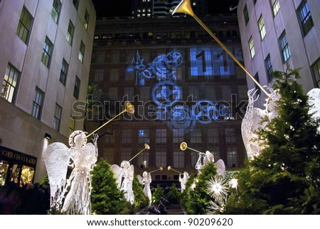 NEW YORK-DEC 2: Rockefeller Center all decorated surrounding the newly lit Christmas tree on December 2, 2011. - stock photo