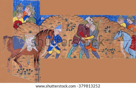 NEW YORK - DEC 12, 2015 - Rustam wrestles with Suhrab, Persian miniature from the Shahnamah, Book of Kings - stock photo