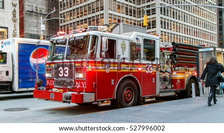 New York, December 1, 2016: A fire engine is parked on 6th Avenue in Manhattan.