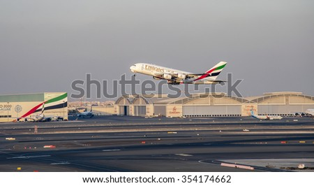 NEW YORK - DECEMBER 9: An A380 Emirates take off at Emirates Terminal 3 airport at Dubai, UAE on December 9 2015. Airbus A380 is the world's biggest jet airliner and the first to have two full decks