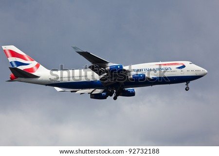 NEW YORK - DECEMBER 20: Boeing 747 British Airways climbs after take off from JFK in New York USA on DECEMBER 20, 2011 British Airways is one of the oldest airlines and rated top 3 biggest in Europe - stock photo