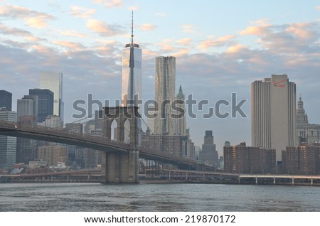 NEW YORK - DECEMBER 21, 2013: Brooklyn Bridge in New York City, USA. - stock photo