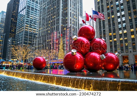 NEW YORK-DECEMBER 30: Holiday decorations near Radio City Music Hall on December 30, 2013 in Manhattan. - stock photo