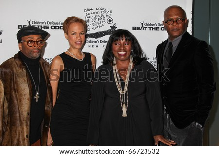 NEW YORK - DECEMBER 06: (L-R) Spike Lee, Tonya Lewis Lee, LaTanya Richardson Jackson and Samuel L. Jackson attend the Children's Defense Fund's on December 6, 2010 in New York City.