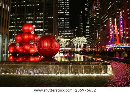 NEW YORK - DECEMBER 19: New York City landmark, Radio City Music Hall in Rockefeller Center decorated with Christmas decorations in Midtown Manhattan on December 19, 2013 - stock photo