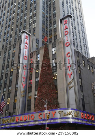 NEW YORK - DECEMBER 18: New York City landmark, Radio City Music Hall in Rockefeller Center decorated with Christmas decorations in Midtown Manhattan on December 18, 2014 - stock photo