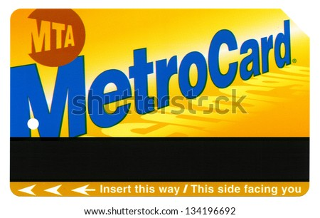 NEW-YORK - DECEMBER 23rd: A standard rechargeable New-York MTA Metro Card isolated on white background, on December 23rd, 2012, in New York, New York. - stock photo