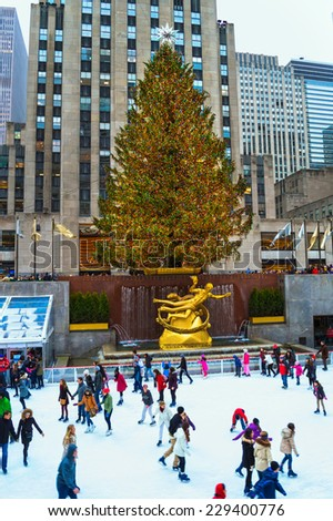 NEW YORK - DECEMBER 30: The world famous Rockefeller Center Christmas tree and skating rink on December 30, 2013 in New York City. - stock photo