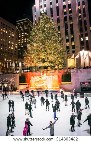 NEW YORK-DECEMBER 3: The world famous Rockefeller Christmas tree ice skating rink on December 3 2015 in New York City.