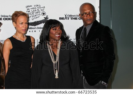 NEW YORK - DECEMBER 06: Tonya Lewis Lee, LaTanya Richardson Jackson and Samuel L. Jackson attend the 20th Anniversary Celebration of the Children's Defense Fund's on December 6, 2010 in New York City.