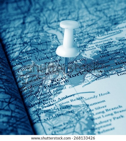 New York  destination in the map - stock photo