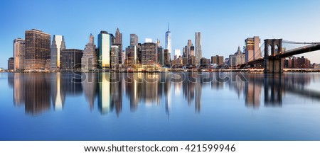 New York downtown panorama with brooklyn bridge and skyscrapers - stock photo