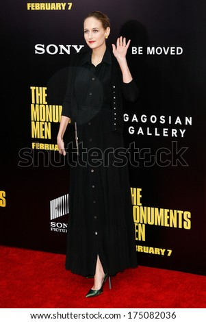 NEW YORK-FEB 4: Actress Leelee Sobieski attends the premiere of 'The Monuments Men' at the Ziegfeld Theatre on February 4, 2014 in New York City.  - stock photo