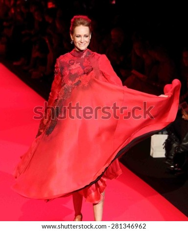 NEW YORK-FEB 12: Actress Valerie Jean Garduno wears Agnes Hamerlin at Go Red for Women-The Heart Truth Red Dress Collection at Mercedes-Benz Fashion Week on February 12, 2015 in New York City. - stock photo