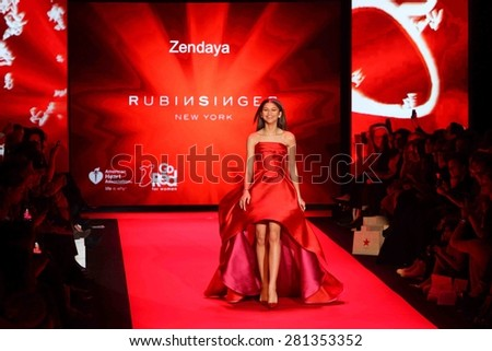 NEW YORK-FEB 12: Actress Zendaya wears Rubinsinger at Go Red for Women-The Heart Truth Red Dress Collection at Mercedes-Benz Fashion Week at Lincoln Center on February 12, 2015 in New York City. - stock photo