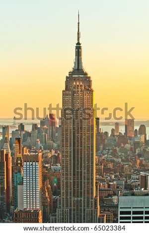 NEW YORK - FEB 21 : Empire state building facade on February 21, 2010. It stood as the world's tallest building for more than 40 years (from 1931 to 1972). - stock photo