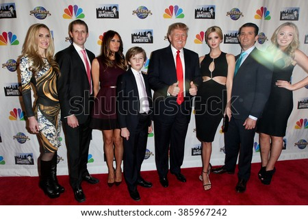 NEW YORK-FEB 16:(L-R)Lara Yunaska, Eric Trump, Melania Trump, Barron Trump, Donald Trump, Ivanka Trump, Donald Trump Jr. & Tiffany Trump at 'Celebrity Apprentice' on February 16, 2015 in New York. - stock photo