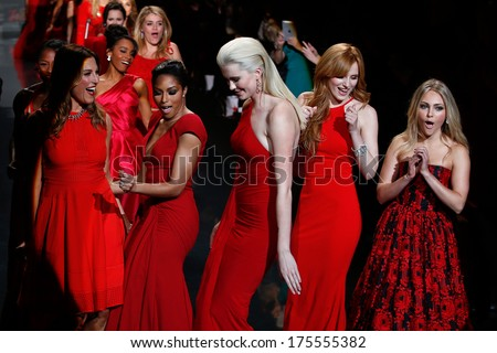 NEW YORK-FEB 6: Thea Andrews, Alicia Quarles Ireland Baldwin Bella Thorne & Annasophia Robb at Heart Truth Red Dress Collection show at Mercedes-Benz Fashion Week on February 6, 2014 in New York City.