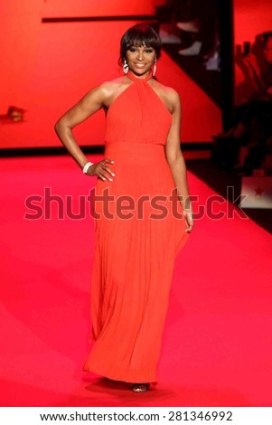 NEW YORK-FEB 12: TV personality Cynthia Bailey wears Jovan O'Connor at Go Red for Women-The Heart Truth Red Dress Collection at Mercedes-Benz Fashion Week on February 12, 2015 in New York City.