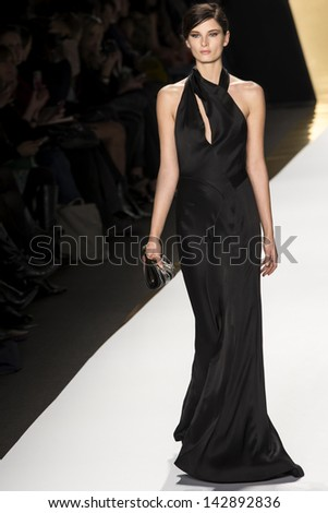 NEW YORK - FEBRUARY 13: A model is walking the runaway at J. Mendel Show for Fall/Winter 2013 Collection during Mercedes-Benz Fashion Week on February 13, 2013 in New York - stock photo