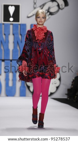 NEW YORK - FEBRUARY 15: A model walks runway for collection by Anna Sui at Mercedes-Benz Fall 2012 Fashion Week  at Lincoln Center in Manhattan on February 15, 2012 in NYC.