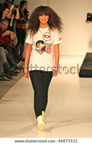 NEW YORK - FEBRUARY 16: A model walks the runway at the Clandestine Industries by Pete Wentz fashion show on February 16, 2010 in NYC - stock photo