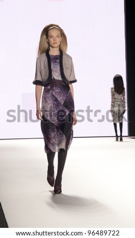 NEW YORK - FEBRUARY 13: A model walks the runway in the Carolina Herrera Fall 2012 collection during Mercedes-Benz Fashion Week on February 13, 2012 in New York City.