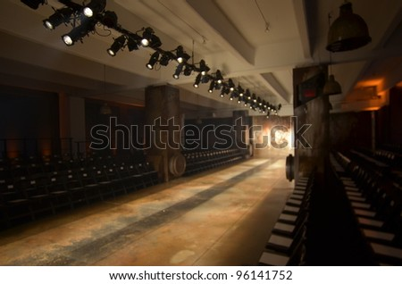 NEW YORK - FEBRUARY 11: A runway preparation before Sally La Pointe Fall/Winter 2012 presentation in Center 548 during New York Fashion Week on February 11, 2012 in NYC. - stock photo
