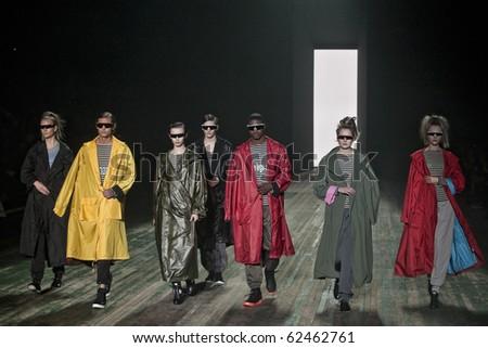 NEW YORK - FEBRUARY 14: Adidas Y-3 by Yohji Yamamoto Fall Winter 2010 fashion show at New York fashion week February 14, 2010 in New York, New York - stock photo