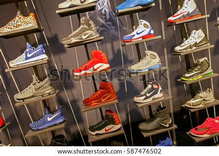 New York, February 21, 2017: Assorted Nike basketball shoes for sale in the NBA store in Manhattan.