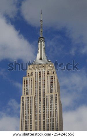 NEW YORK -  FEBRUARY 19, 2015: Empire State Building close up. The Empire State Building is a 102-story landmark and was world's tallest building for more than 40 years - stock photo