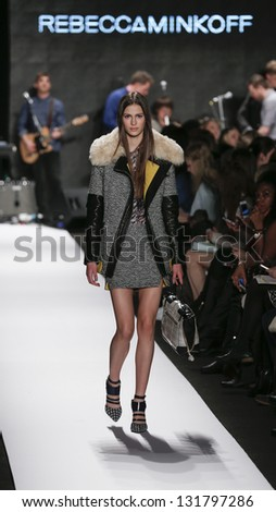 NEW YORK - FEBRUARY 8: Model walks runway at Fall 2013 show for collection by Rebecca Minkoff at Mercedes-Benz Fashion Week at Lincoln Center on February 8, 2013 in New York