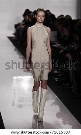 NEW YORK - FEBRUARY 15: Model walks runway for Herve Leger collection by Max Azria at Mercedes-Benz Fall/Winter 2011 Fashion Week on February 15, 2011 in New York City