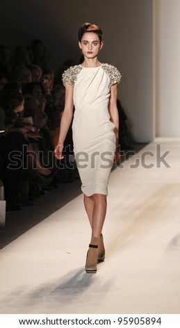 NEW YORK - FEBRUARY 12: Model walks runway for Lela Rose collection during Fashion week at Lincoln Center in Manhattan on February 12, 2012 in New York City