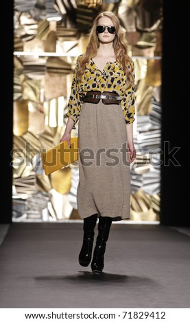 NEW YORK - FEBRUARY 14: Model walks runway for Tracy Reese collection at Mercedes-Benz Fall/Winter 2011 Fashion Week on February 14, 2011 in New York City - stock photo