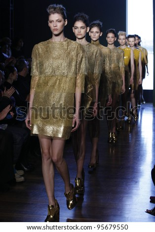 NEW YORK - FEBRUARY 14: Models walk runway for Alexandre Herchcovitch collection during Fashion week at High Line Room at Standard Hotel in Manhattan on Feb 14, 2012 in NYC - stock photo
