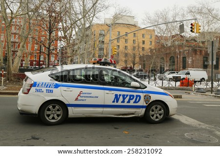 NEW YORK - FEBRUARY 26, 2015: NYPD traffic control vehicle in Lower Manhattan. The New York Police Department, established in 1845, is the largest police force in USA - stock photo