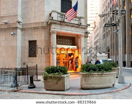 NEW YORK - FEBRUARY 5: Side door of New York Stock Exchange at evening in New York, USA on February 5, 2010. The building, located at 18 Broad Street, cost $4 million was opened on April 22, 1903. - stock photo
